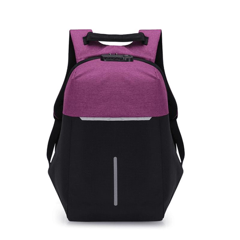 学生男女密码锁双肩包休闲防水背包商务笔记本电脑包M8079