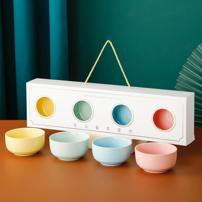 简爱马卡龙色釉碗两碗/四碗礼盒装