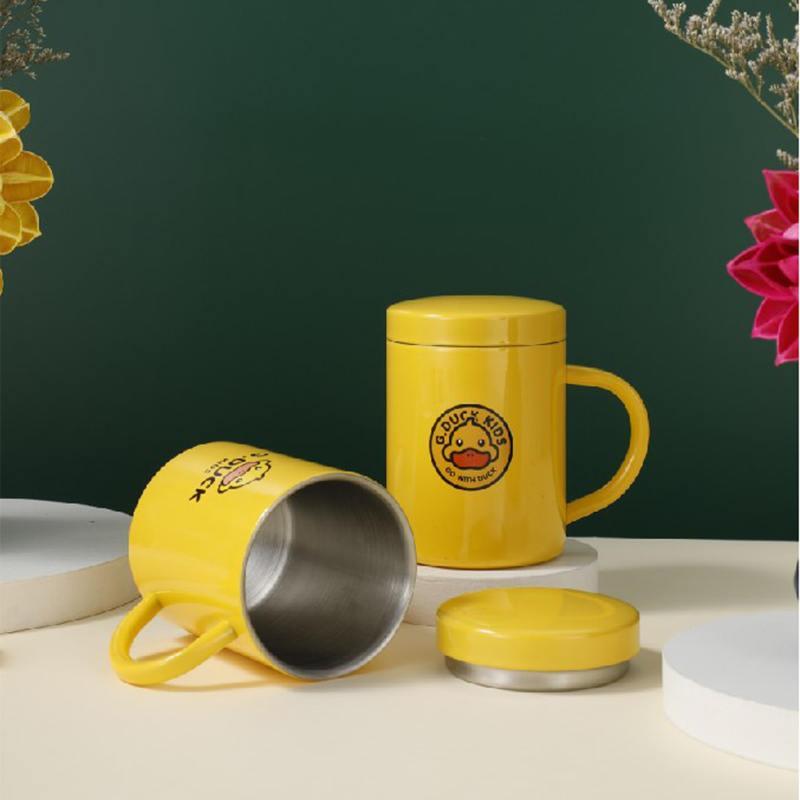 小黄鸭全钢带盖水杯不锈钢口杯XHY0026