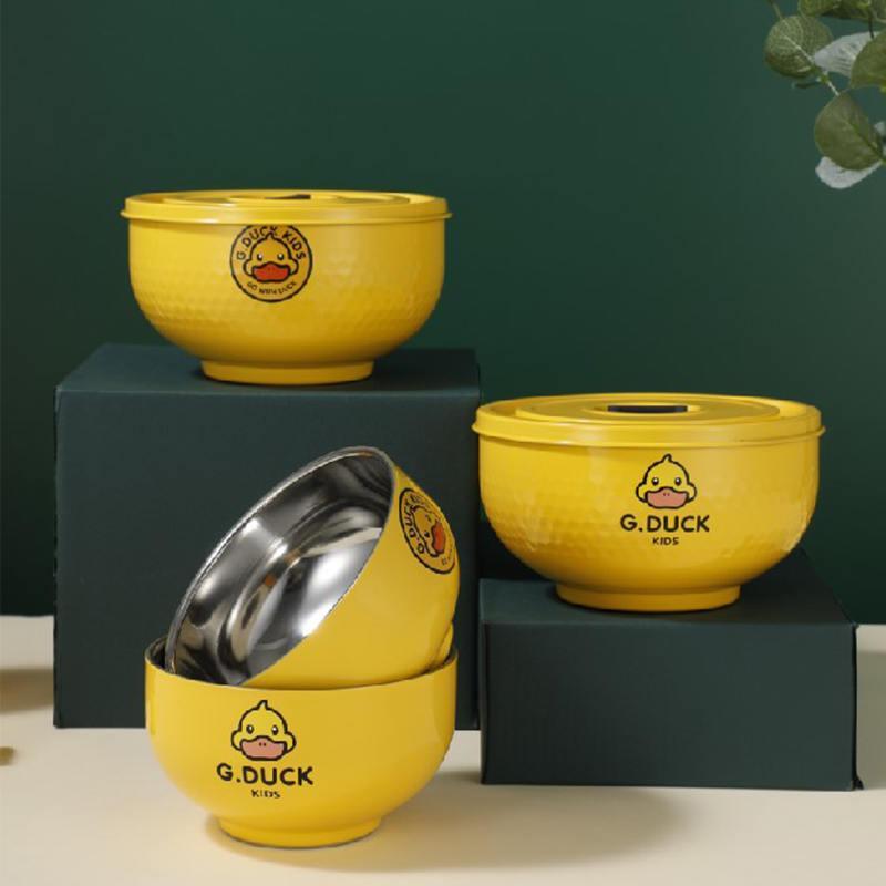 小黄鸭全钢双层儿童碗小黄鸭密封保鲜碗XHY0024/XHY0025