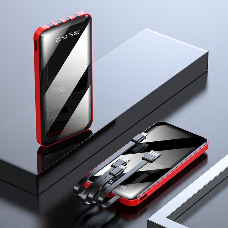 自带线长方形镜面数显移动电源自带四线充电宝全面屏10000毫安