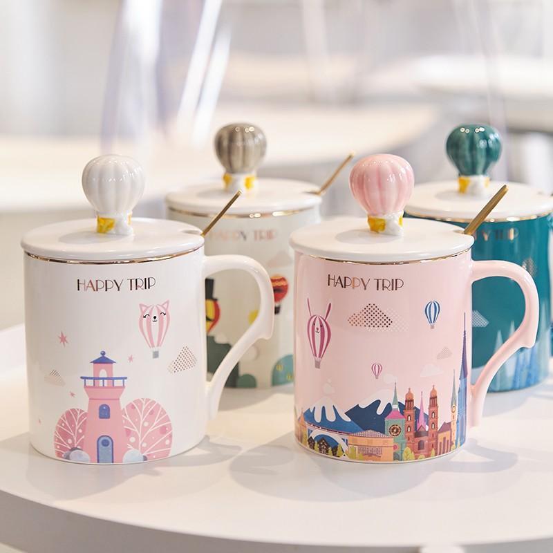 城堡杯创意马克杯可爱少女心带盖勺陶瓷杯子情侣办公室家用水杯个性潮流
