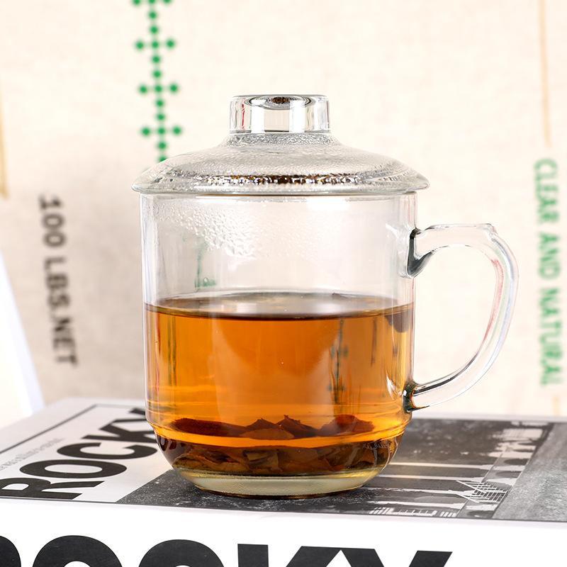 耐热玻璃花茶饮杯带把办公杯咖啡杯礼品杯花茶杯