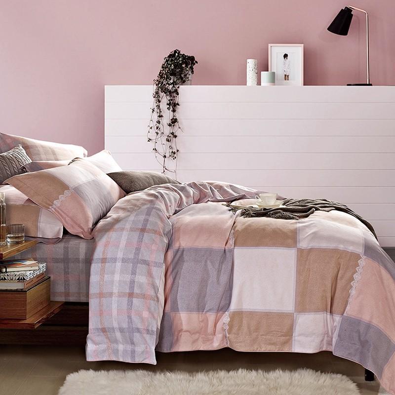 【罗莱家纺】LOVO全棉磨绒四件套斯霓湖畔被套枕套床单VAM7811-4
