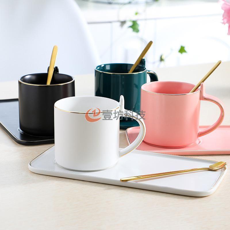 兔耳咖啡杯碟大容量简约美观水杯陶瓷杯