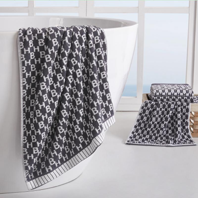 【HUGO BOSS】提花毛巾二件套毛巾柔软洗脸家用吸水不掉毛 HBMJ-001-2
