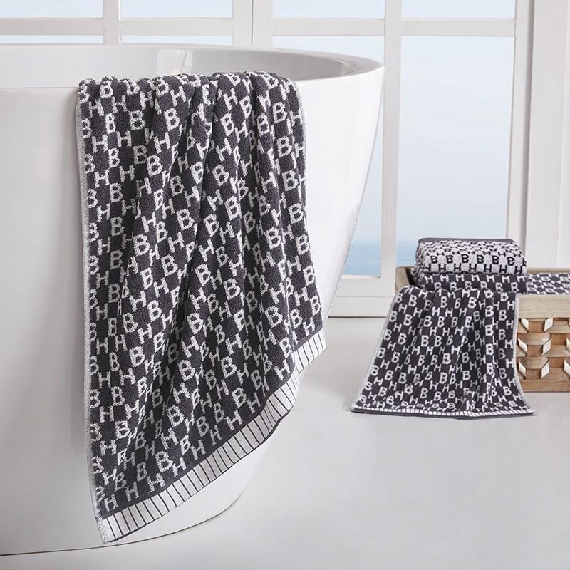 【HUGO BOSS】提花毛浴巾三件套亲肤柔软吸水浴巾成人毛巾浴巾套装 HBMJ-001-3