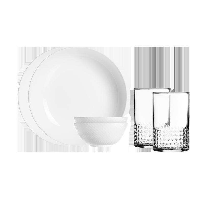 【乐美雅】餐具套装无铅耐热钠钙玻璃晶钻浮雕餐具6件套 LC-CJJ563