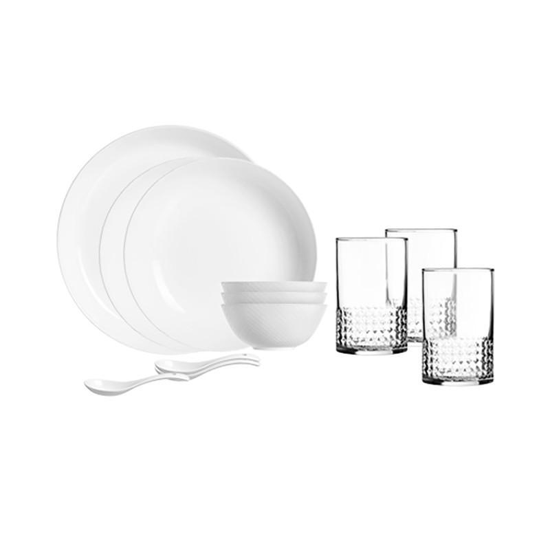 【乐美雅】晶钻浮雕家用陶瓷餐具碗盘套装餐具12件套 LC-CJJ525