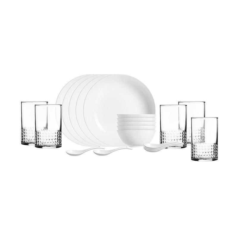 【乐美雅】无铅耐热西餐盘晶钻浮雕餐具20件套 LC-CJJ526