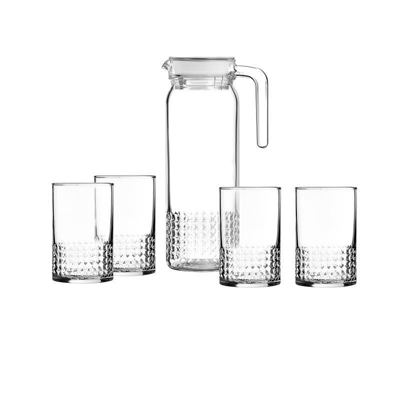 【乐美雅】耐高温无铅茶杯水杯透明水杯晶钻水具5件套 LC-YJJ521