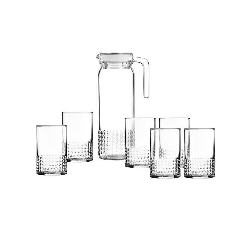 【乐美雅】玻璃杯套装泡茶果汁牛奶杯透明晶钻水具7件套装 LC-YJJ522