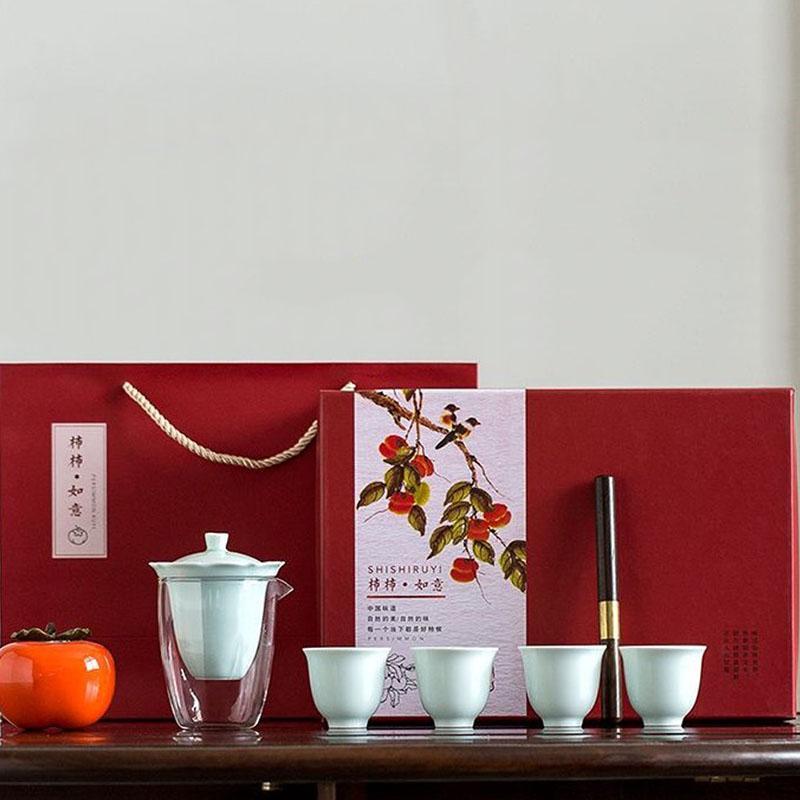【方然】柿柿如意中秋款礼品茶具中国红家用简约事事如意FR-803