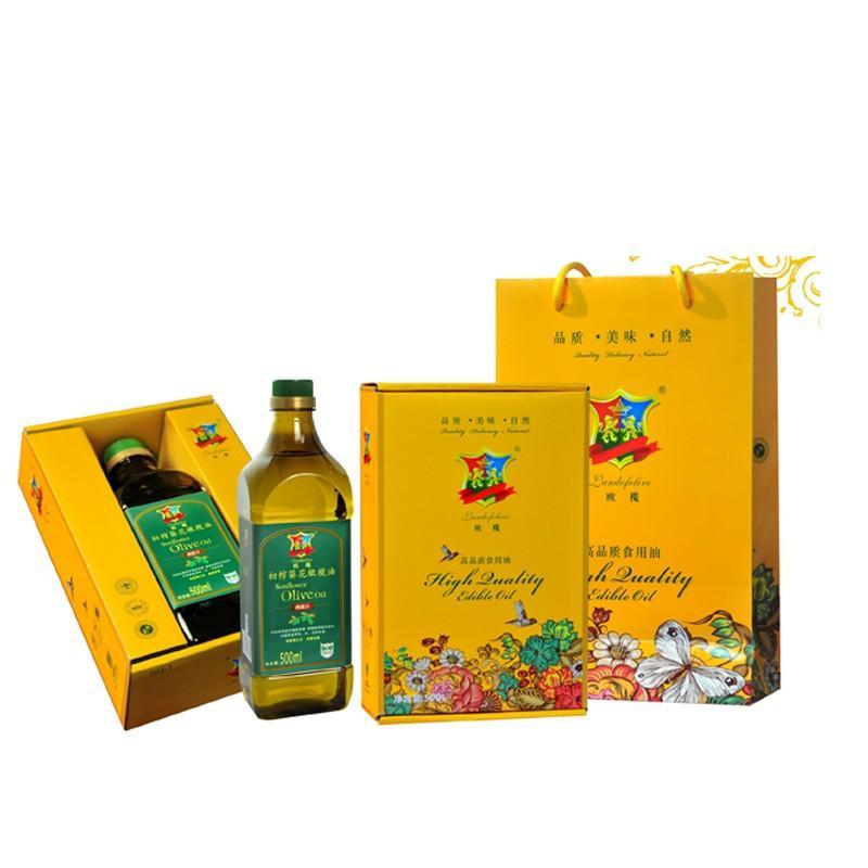 【 欧榄】初榨葵花橄榄油食用油500ml宽体礼盒装 D28-1