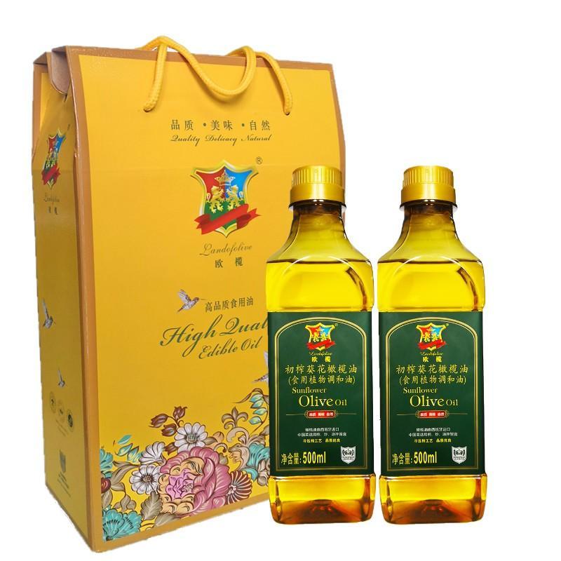 【 欧榄】初榨葵花橄榄油500ml*2礼盒装 D03S