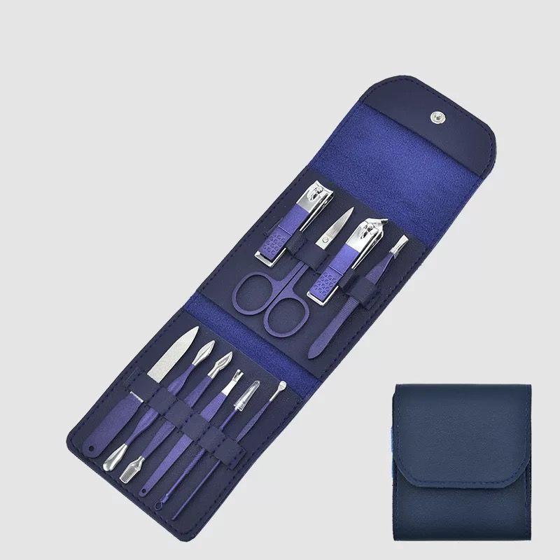 工匠头指甲刀套装男士专用德国家用手挖耳勺甲沟修脚工具新款蓝色配件折包10件套CH–B10