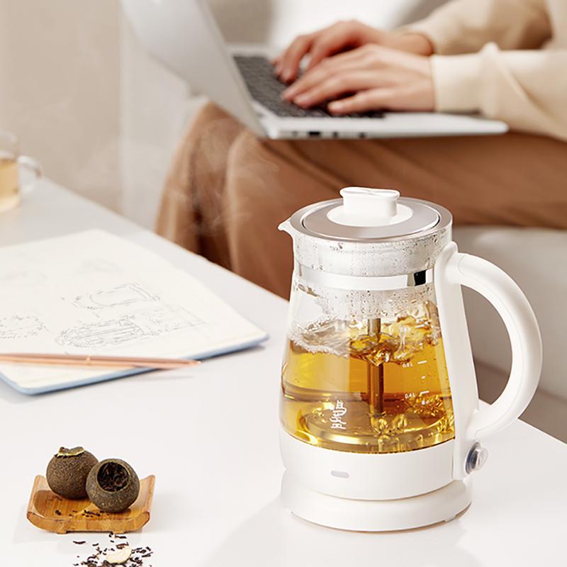 【鸣盏】煮茶器养生壶家用全自动多功能喷淋式煮茶壶茶艺烧水壶小型办公室0.8L玻璃电热水壶MZ078