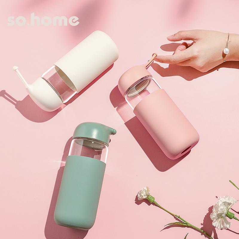 【so.home】豆蔻便携玻璃随行杯简约好看少女心外出清新可爱萌玻璃杯茶杯森系日系水杯C931-43