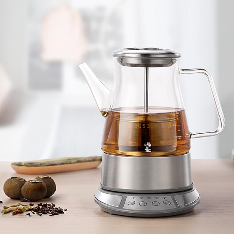 【鸣盏】多功煮茶壶喷淋式煮茶壶玻璃电热水壶花茶壶煮茶器MZ-8008B