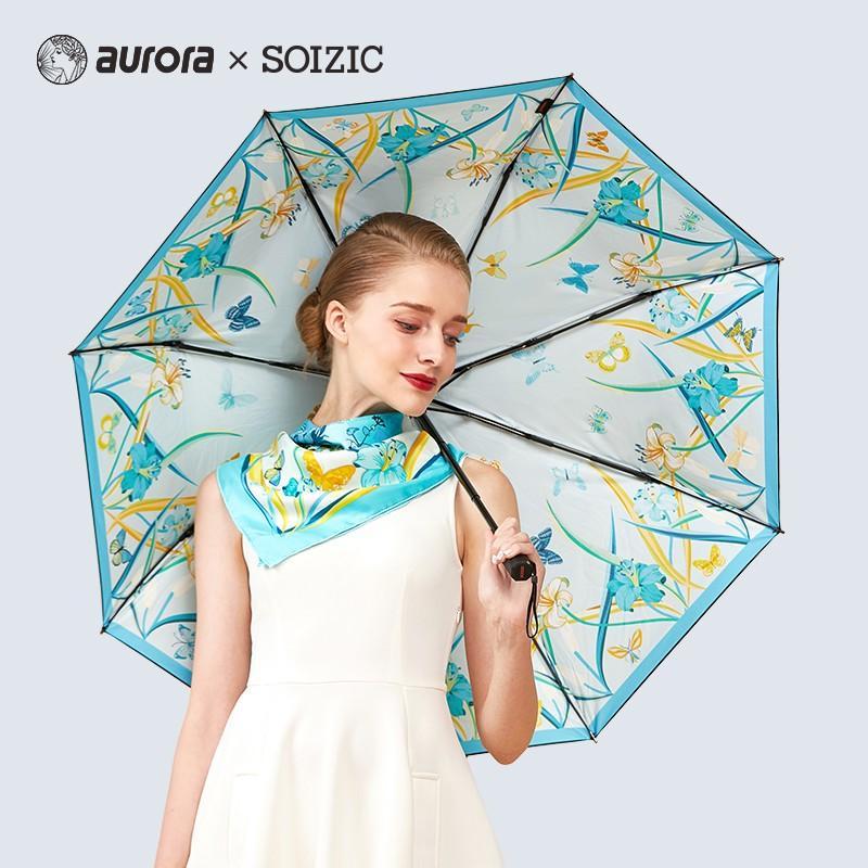 【奥罗拉】aurora仲夏夜之梦丝巾雨伞套装奥罗拉小方巾搭配同花色雨伞