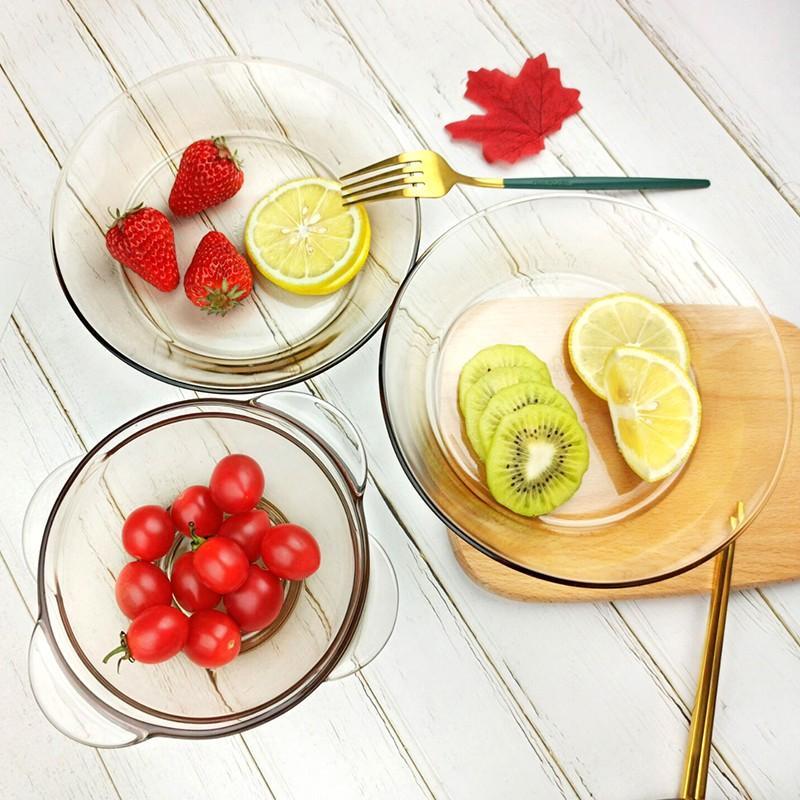 【康宁】茶色耐热玻璃透明碗碟盘套装家用透明餐具CW12/CW16