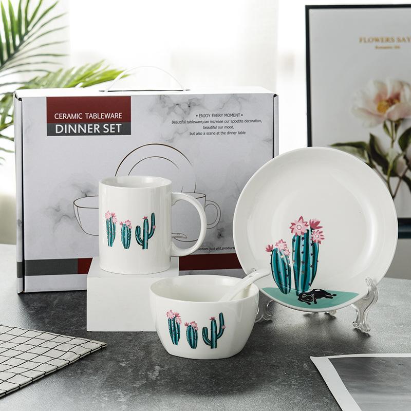 创意日式卡通餐具个性家用会销碗勺盘杯单人套装
