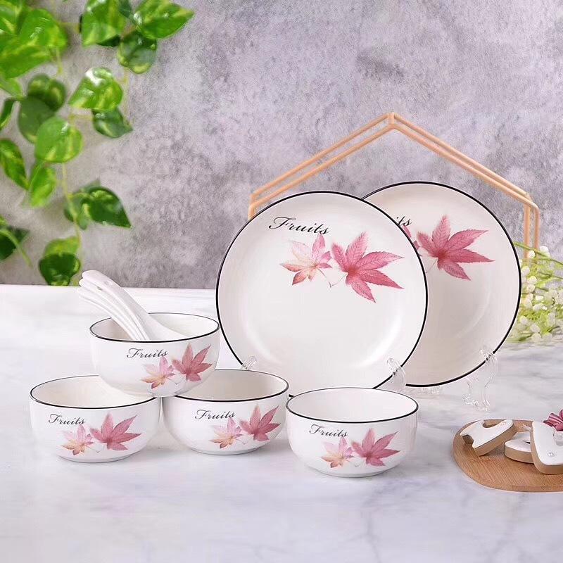 枫叶餐具海豚餐具日式陶瓷餐具礼盒碗勺盘