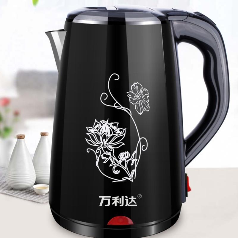 万利达快速电水壶双层保温电热水壶食品级不锈钢防烫烧水壶DL-230A