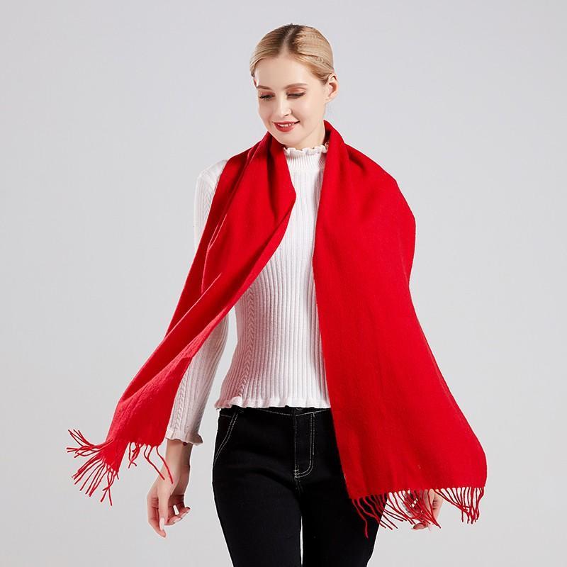 【丝语棠】中国红羊绒围巾羊毛围巾披肩SZGH05/SZGH06