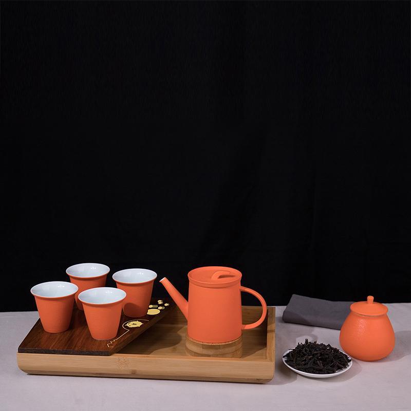 【万春和】成就未来茶壶茶杯茶盘大红袍一罐茶巾茶具